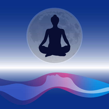 Silhouettes of a meditating person against the background of the sky, the moon and the ocean. Zen yoga concept, logo for Yoga Studio. Vector illustration. Illusztráció