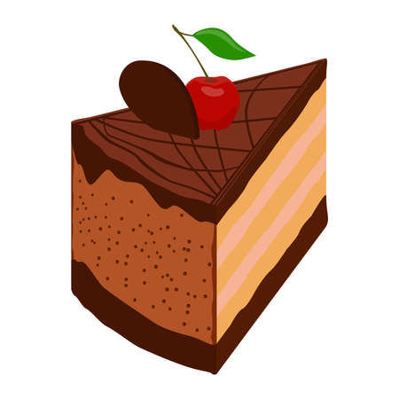Chocolate cake with cherry, isometric view. 3D rendering. Vector illustration.