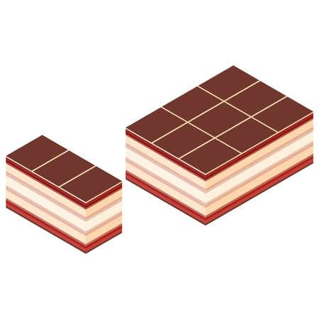 Chocolate cake, isometric view. 3D rendering. Vector illustration. Illusztráció
