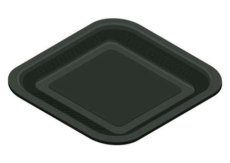 Black square plastic food container, isometric view. 3D rendering. Vector illustration.