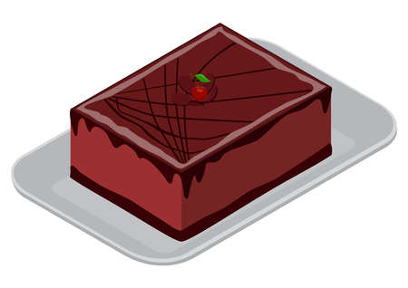 Chocolate cake on a white food container, isometric view. 3D rendering. Vector illustration. Illusztráció