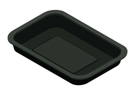 Black plastic food container, isometric view. 3D rendering. Vector illustration.