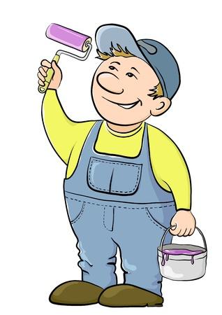 handy man: Lavoro casa pittore vernici, in le mani a esso, lo strumento e un secchio con una vernice Vettoriali