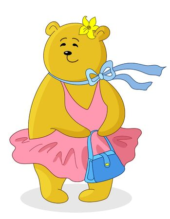 Teddy bear  with handbag in the pink dress Vector