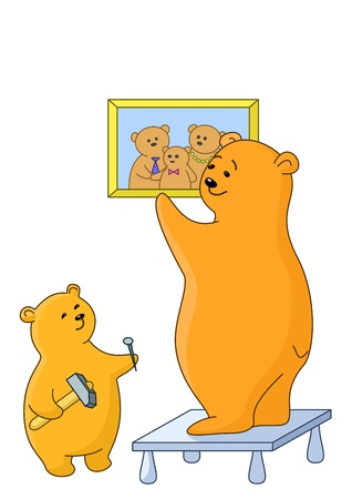 Teddy-bears: father and the son attach a picture on a wall Vector
