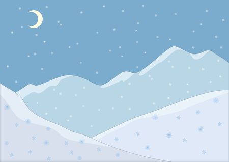 snowy hill: Landscape. Snow-covered mountains and falling snow. Night Illustration