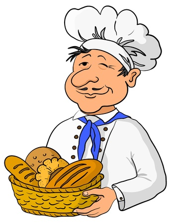 bake: Cook - baker in a cap with a basket of tasty newly baked bread Illustration