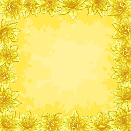 Vector floral background, frame from flowers narcissus Stock Vector - 9146323