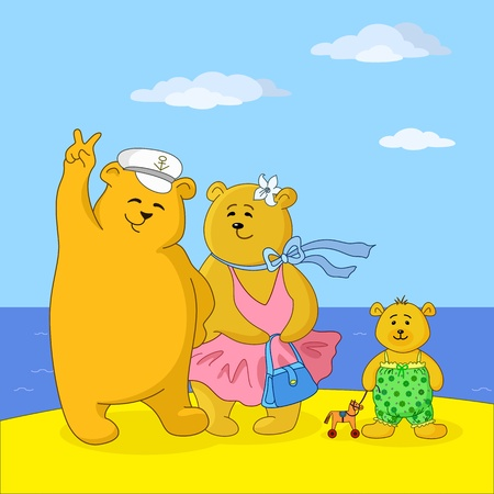 Family of toy teddy bears, mum, father and son on a sea beach Vector