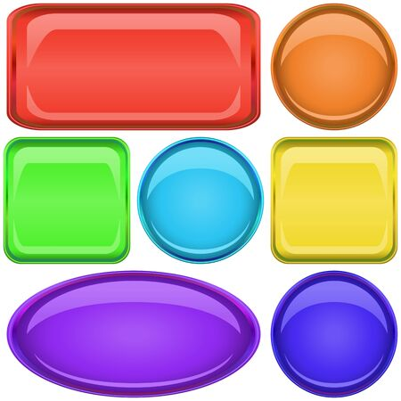 Set multi-coloured vector icons, buttons different forms Stock Vector - 9187533