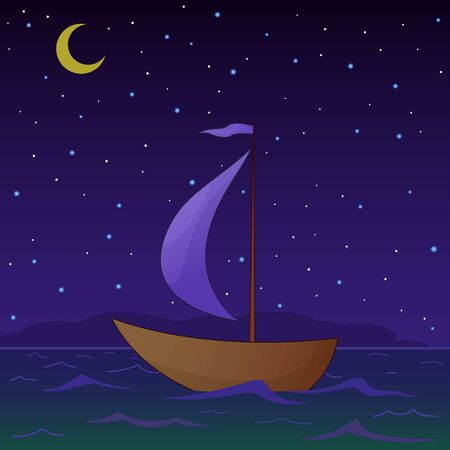 Ship floats under sails in the sea in the moonlight night Vector