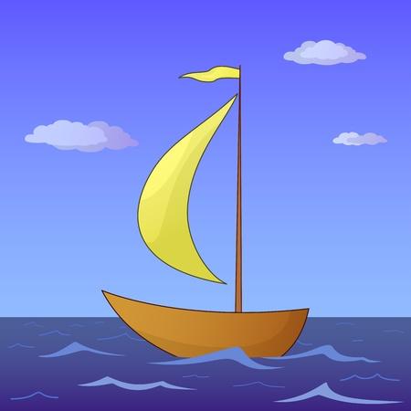 Het schip drijft in de ochtendoverzees onder rode zeilen, vector Vector Illustratie