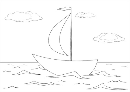 Ship floats in the sea under a sail, from above the sky and clouds. Contours Vector