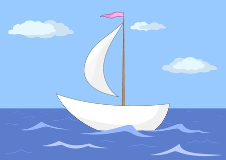 The ship floats in the sea under a sail, from above the sky and clouds Vector