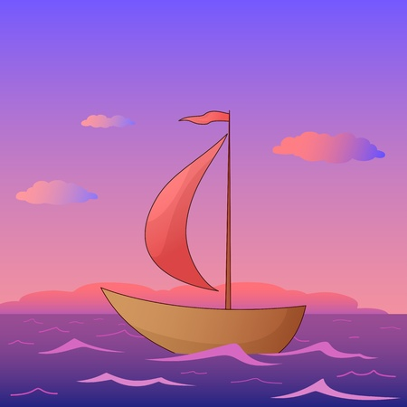 nautical flags: Ship floats in the morning sea under red sails, vector Illustration