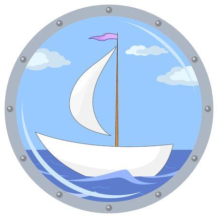 ventana ojo de buey: Portillo de ventana con el barco flotando en el mar y el cielo azul con nubes Vectores
