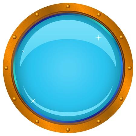 ventana ojo de buey: Ventana de barco bronce - Portillo con un fondo azul, aislado en el blanco