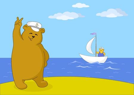 Teddy bear captain on seacoast shows victory sign Vector