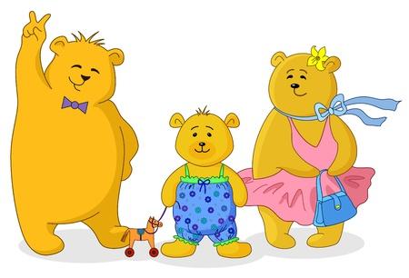 osos de peluche: Familia de peluche de juguete lleva, mam�, padre e hijo