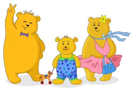 dolly bag: Family of toy teddy bears, mum, father and son Illustration