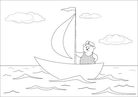 Teddy bear seaman floats on a sailing vessel on the sea, contours. Vector