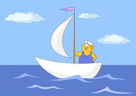 sailing vessel: Oso de peluche marino flota en un velero en el mar azul oscuro