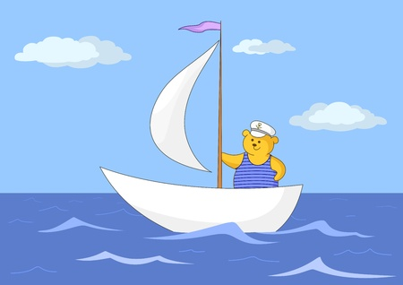 sailer: Teddy-bear seaman floats on a sailing vessel on the dark blue sea Illustration