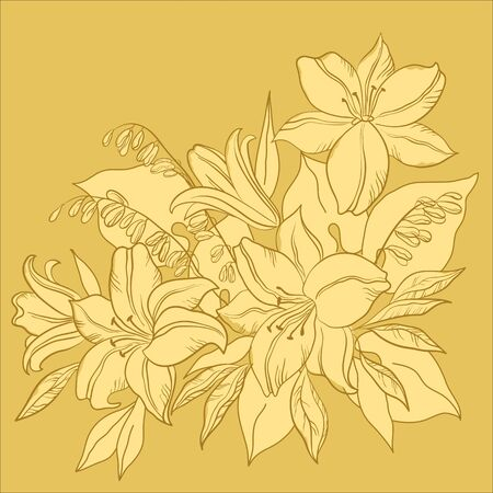 Flower background, lily and mine, flowers and leaves, monochrome Vector