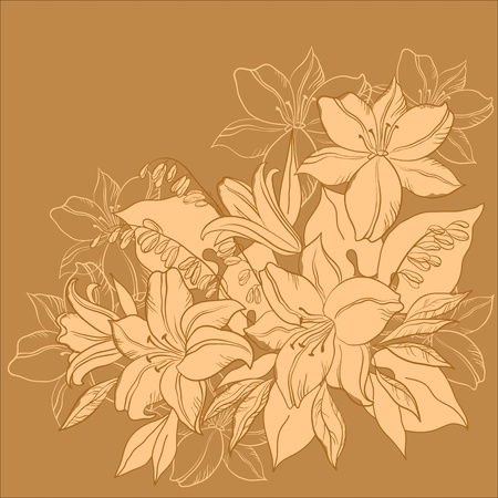 outline flower: Flower background, lily and mine, flowers and leaves, monochrome