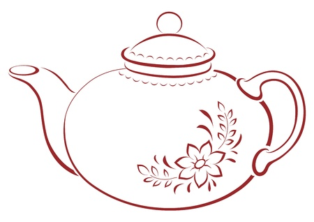 teapots: China teapot with a pattern from a flower and leaves, pictogram Illustration