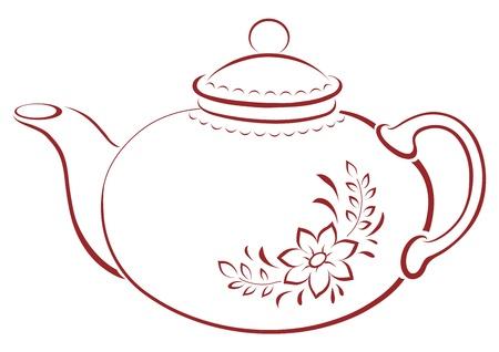 China theepot met een patroon van een bloem en bladeren, pictogram