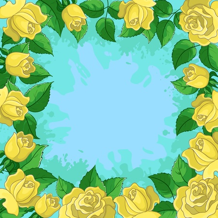 gele rozen: Vector floral background, frame from flowers yellow roses and green leaves