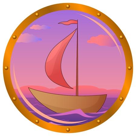 ventana ojo de buey: Portillo de ventana con el barco flotando en el mar en la ma�ana el amanecer