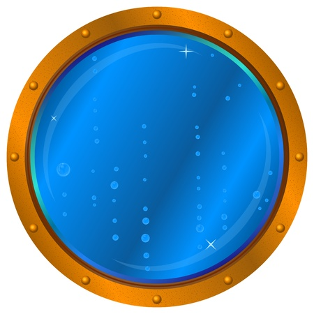 navy blue background: Ship window - porthole with blue sea water and air bubbles