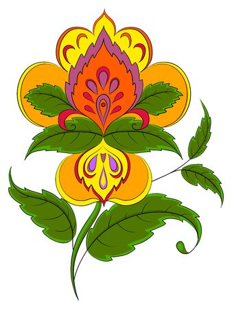 Flor simbólica de vector abstracto con verde deja sobre un fondo blanco