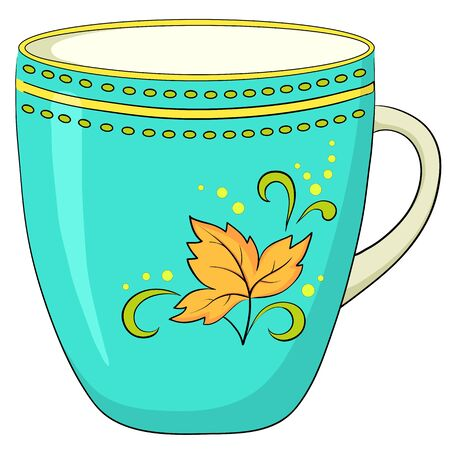 China green cup with a pattern from circles and yellow autumn leaf Vector