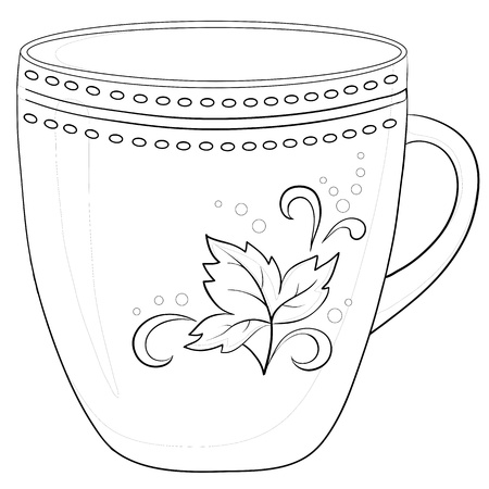 China cup with a pattern from circles and leaf, contour Vector