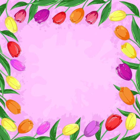 Flower vector background, frame from tulips flowers on a pink Vector