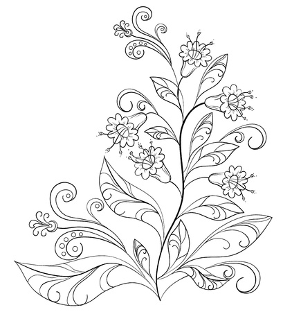 Abstract vector floral pattern, monochrome contours Stock Photo - 9257688