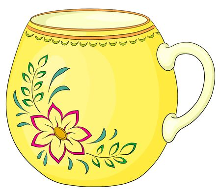 China yellow cup with a pattern from a red flower and green leaves Vector