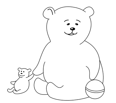 Teddy-bear with a ball and a toy bear, contours Stock Vector - 9257672