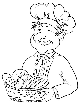 Cook - baker in a cap with a basket of tasty newly baked bread, contour Vector