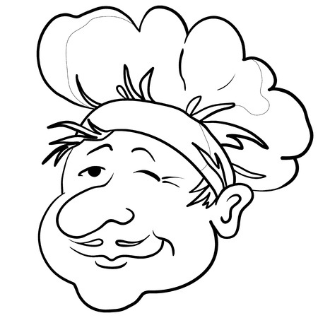 kitchener: Head of the cook - chef in a cap, funny character, contour