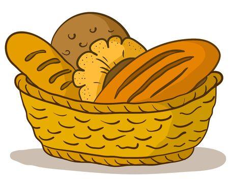 canasta de panes: Comida: sabroso pan fresco, panes y rollos en una cesta Vectores