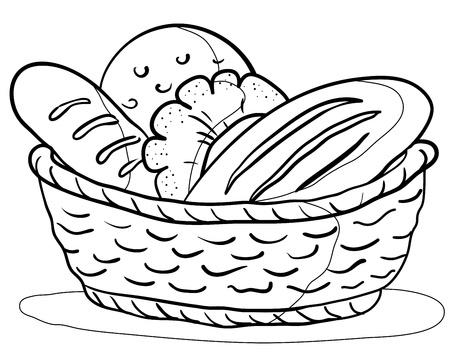 canasta de panes: Comida: sabroso pan fresco, panes y rollos en una cesta, contorno
