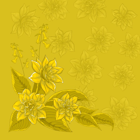 Vector background, pattern with flowers and silhouettes narcissuses Stock Vector - 9257686