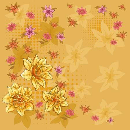 Vector background, pattern with flowers and silhouettes narcissuses Stock Vector - 9257691