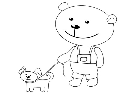 Toys: the teddy-bear walks with a dog, contours Vector