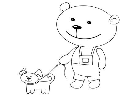 Toys: the teddy-bear walks with a dog, contours Vector