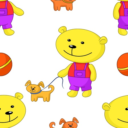 Vector seamless background, toy teddy bear walks with a dog